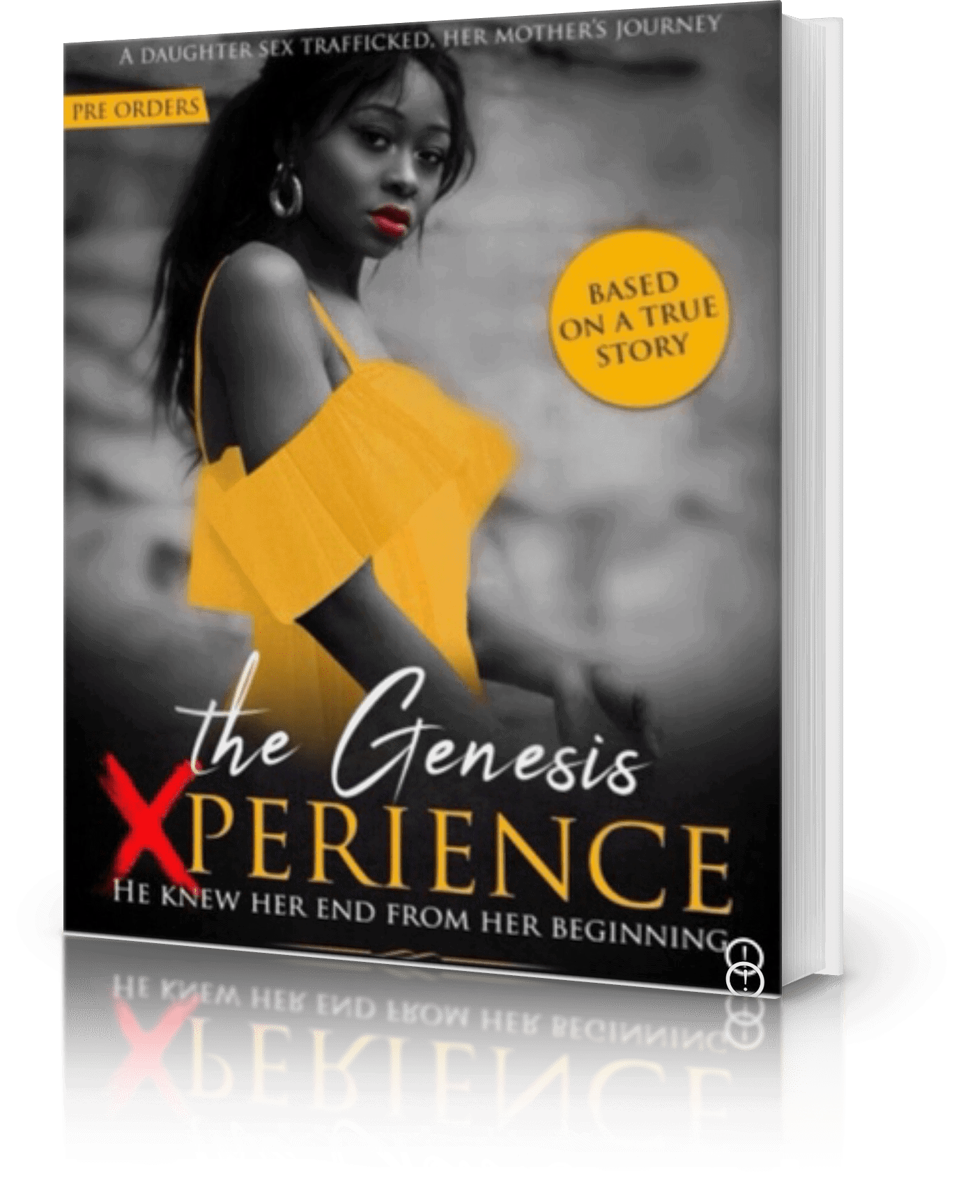 """Photo of A Book Representing """"The Genesis XPerience"""" with a Black Lady on the Cover wearing a yellow dress"""